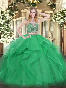 Beading and Ruffles Quince Ball Gowns Green Lace Up Sleeveless Floor Length