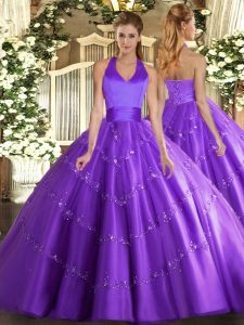 Purple Lace Up Halter Top Appliques 15 Quinceanera Dress Tulle Sleeveless