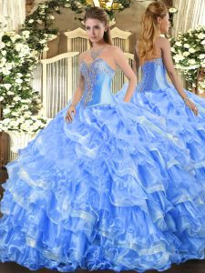 Charming Floor Length Baby Blue Quinceanera Dresses Sweetheart Sleeveless Lace Up