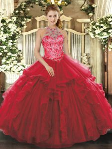 Coral Red 15th Birthday Dress Military Ball and Sweet 16 and Quinceanera with Beading and Embroidery and Ruffles Halter
