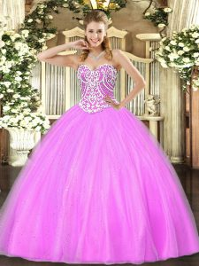 Sumptuous Ball Gowns Sweet 16 Dresses Lilac Sweetheart Tulle Sleeveless Floor Length Lace Up