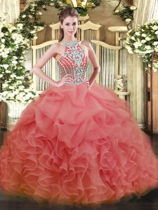 Watermelon Red Halter Top Lace Up Beading Quinceanera Dress Sleeveless