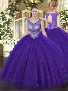 Purple Sleeveless Tulle and Sequined Lace Up Quinceanera Gowns for Sweet 16 and Quinceanera
