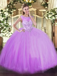 Affordable Lavender Ball Gowns Beading Sweet 16 Dresses Zipper Tulle Sleeveless Floor Length