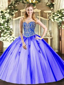 Smart Lavender Ball Gowns Tulle Sweetheart Sleeveless Beading and Appliques Floor Length Lace Up Quinceanera Dresses