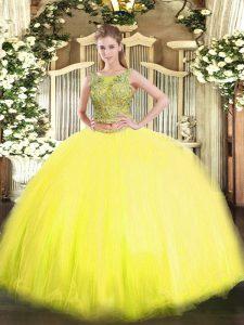 Edgy Yellow Sleeveless Beading Floor Length Quinceanera Dresses