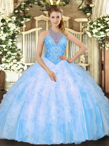 Flirting Baby Blue Lace Up High-neck Beading and Ruffles Quinceanera Dresses Organza Sleeveless
