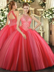 Tulle High-neck Sleeveless Lace Up Beading Quinceanera Dresses in Coral Red