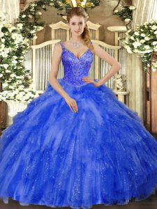 Royal Blue V-neck Neckline Beading and Ruffles 15 Quinceanera Dress Sleeveless Lace Up