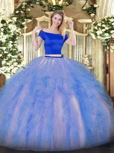 Customized Short Sleeves Appliques and Ruffles Zipper Ball Gown Prom Dress