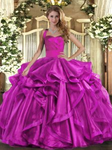 Modest Floor Length Fuchsia 15 Quinceanera Dress Organza Sleeveless Ruffles