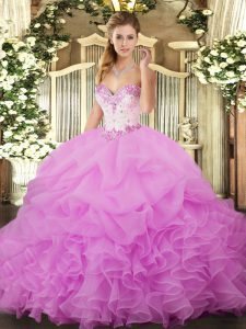 Hot Selling Sleeveless Organza Floor Length Lace Up Quinceanera Gown in Lilac with Beading and Ruffles and Pick Ups