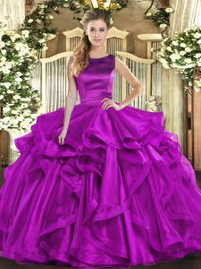 New Arrival Sleeveless Floor Length Ruffles Lace Up Sweet 16 Dresses with Purple