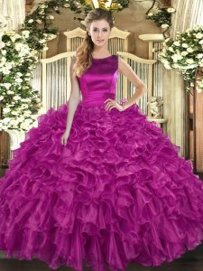 Trendy Ball Gowns Quinceanera Dress Fuchsia Scoop Organza Sleeveless Floor Length Lace Up