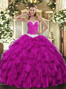 Simple Sweetheart Sleeveless Organza 15th Birthday Dress Appliques and Ruffles Lace Up