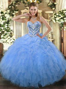 On Sale Aqua Blue Side Zipper Sweet 16 Dresses Beading and Ruffles Sleeveless Floor Length