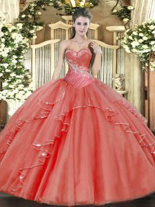 Sexy Floor Length Coral Red Vestidos de Quinceanera Sweetheart Sleeveless Lace Up