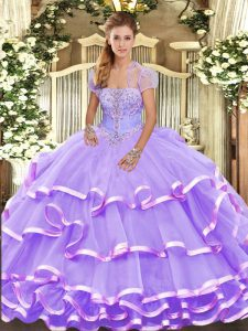 Lavender Sleeveless Beading and Ruffled Layers Floor Length Sweet 16 Dresses