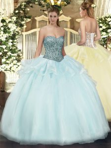 Charming Apple Green Lace Up Quinceanera Dress Beading and Ruffles Sleeveless Floor Length