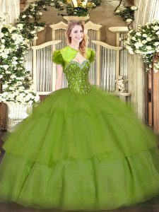 Olive Green Quinceanera Dress Military Ball and Sweet 16 and Quinceanera with Beading and Ruffled Layers Sweetheart Slee