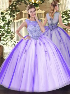 Fitting Floor Length Zipper 15th Birthday Dress Lavender for Sweet 16 and Quinceanera with Beading and Appliques