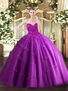 Latest Floor Length Fuchsia Vestidos de Quinceanera Sweetheart Sleeveless Lace Up