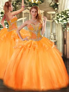 Graceful Sweetheart Sleeveless Sweet 16 Dress Floor Length Beading Orange Tulle