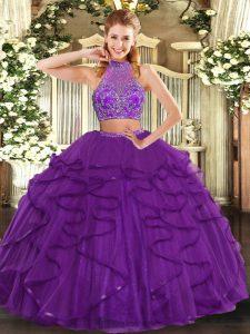 Purple Sleeveless Floor Length Beading and Ruffled Layers Criss Cross Quinceanera Dress