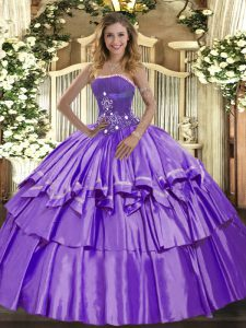 Charming Sleeveless Lace Up Floor Length Beading and Ruffled Layers Quinceanera Dresses