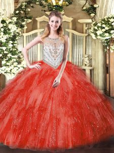 Coral Red Ball Gowns Tulle Scoop Sleeveless Beading and Ruffles Floor Length Zipper Ball Gown Prom Dress
