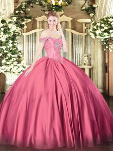Hot Pink Off The Shoulder Lace Up Beading Ball Gown Prom Dress Sleeveless
