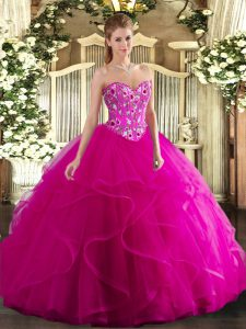 Top Selling Sweetheart Sleeveless 15th Birthday Dress Floor Length Embroidery and Ruffles Fuchsia Tulle
