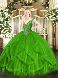 Sleeveless Floor Length Beading and Ruffles Lace Up Vestidos de Quinceanera with