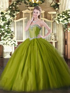 Olive Green Quinceanera Gown Military Ball and Sweet 16 and Quinceanera with Beading Sweetheart Sleeveless Lace Up