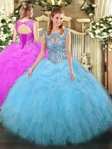 Aqua Blue Quinceanera Dress Military Ball and Sweet 16 and Quinceanera with Beading and Ruffles Scoop Sleeveless Lace Up