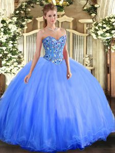 Eye-catching Blue Sleeveless Floor Length Embroidery Lace Up Quinceanera Gown