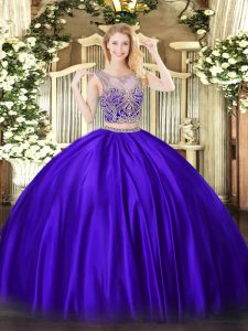 Dramatic Purple Two Pieces Satin Scoop Sleeveless Beading Floor Length Lace Up 15th Birthday Dress