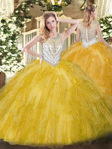 Romantic Gold Vestidos de Quinceanera Military Ball and Sweet 16 and Quinceanera with Beading and Ruffles Scoop Sleevele