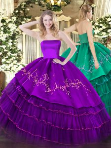 Purple Zipper Quinceanera Dresses Embroidery and Ruffled Layers Sleeveless Floor Length