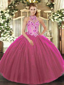 Fuchsia Lace Up Vestidos de Quinceanera Embroidery Sleeveless Floor Length