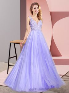 V-neck Sleeveless Tulle Prom Evening Gown Lace Zipper
