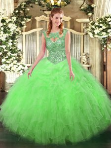 Scoop Sleeveless Tulle Sweet 16 Dresses Beading and Ruffles Lace Up