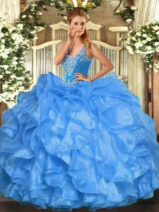 Baby Blue Organza Lace Up Straps Sleeveless Floor Length Sweet 16 Quinceanera Dress Beading and Ruffles