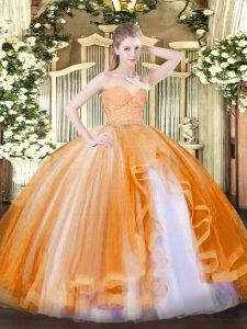 Stunning Beading and Lace and Ruffles Quinceanera Dress Orange Zipper Sleeveless Floor Length