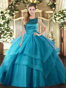 Ruffled Layers Vestidos de Quinceanera Teal Lace Up Sleeveless Floor Length