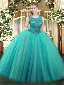 Scoop Sleeveless Zipper 15th Birthday Dress Turquoise Tulle