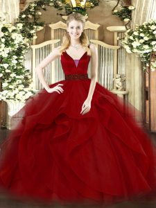 Great Wine Red Sleeveless Tulle Zipper Sweet 16 Dress for Military Ball and Sweet 16 and Quinceanera