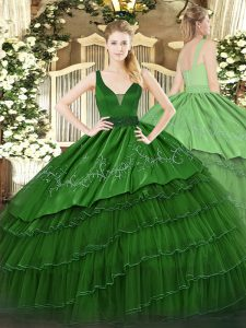 Organza and Taffeta Straps Sleeveless Zipper Beading and Embroidery and Ruffled Layers 15 Quinceanera Dress in Dark Gree