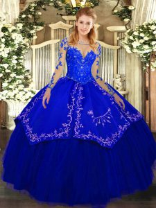 Elegant Floor Length Lace Up Quinceanera Dress Royal Blue for Military Ball and Sweet 16 and Quinceanera with Lace and E