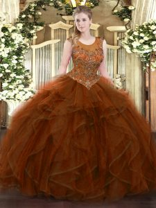 Tulle Scoop Sleeveless Zipper Beading and Ruffles Sweet 16 Quinceanera Dress in Brown